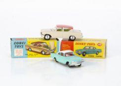 Corgi Toys 234 Ford Consul Classic, beige body, pink roof, lemon interior, spun hubs, Dinky Toys 143