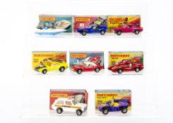 Matchbox Superfast, 54 Capri, 41 Siva Spyder, 5 Seafire, 69 Turbo Fury, 1 Dodge Challenger, 44