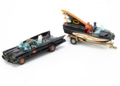 Corgi Toys Batman's Batmobile & Batboat, 1st issue 267 Batmobile with 'Bat' hubs, Batman and Robin