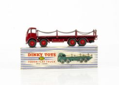 A Dinky Toys 905 Foden Flat Truck With Chains, 2nd type maroon cab, chassis and flatbed, red grooved