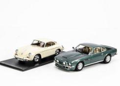 GT Spirit 1:18 Aston Martin V8 Vantage GT072, Porsche 365B 2000 GS Carrera 2 GT010ZM, with stand, in