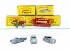 Matchbox Lesney 1-75 Series, 56a London Trolley Bus, SPW, 44a Rolls-Royce Silver Cloud, SPW, 2b Muir