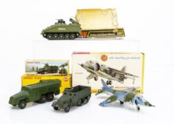 Dinky Toys 677 Armoured Command Vehicle, 722 Hawker Harrier, 691 Striker Anti Tank Vehicle, French