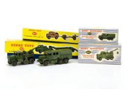 Dinky Toys 660 Tank Transporter, 697 25-Pounder Field Gun Set, 689 Medium Artillery Tractor, 661