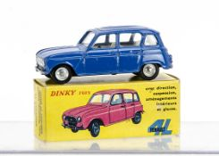 A Spanish Dinky Toys 518 Renault 4L, dark blue body, silver grille, off-white interior, concave