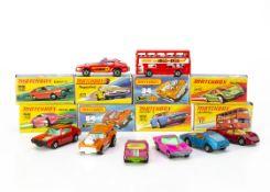Matchbox Superfast, 32 Maserati Bora, 64 Fire Chief, 17 The Londoner, 65 Saab Sonett III, 62 Renault