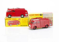 Dinky Toys 259 Fire Engine, red body, 'Fire Brigade' crest, red plastic hubs, 276 Airport Fire