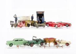 Dinky Toys 108 MG Midget, white body, red hubs, 172 Studebaker, light green body, mid-green hubs,