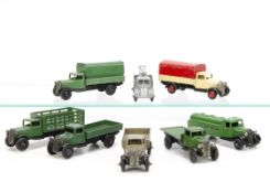 Dinky Toy Commercial Vehicles, 25a Wagon, dark green body, type 3 chassis, 25b Covered Wagon,