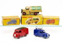 Dinky Toys 260 Morris J Royal Mail Van, 252 Refuse Wagon, tan body, green shutters, red hubs, no