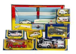 1970s-1980s Corgi Toys, 12 Glider & Trailer Gift Set, 44 Mounted Police Set, 1128 Mercedes Tipper '