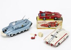 A Dinky Toys 103 Spectrum Patrol Car From Captain Scarlet, metallic red body, white base, blue