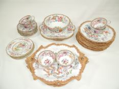 A British Staffordshire 19th Century part service in the 'China Tea' pattern, with a Chinoiserie
