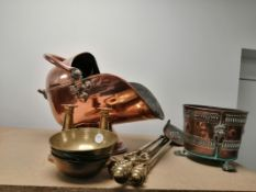 A mixed group of copper and brass to include a copper coal scuttle and shovel, height 46cm, a copper