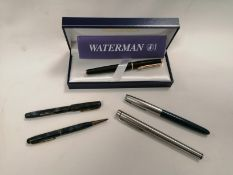 A Waterman of Paris fountain pen, in original box, 4cm x 18cm x 7cm, together with several other