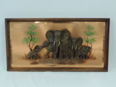 A large copper panel with a study of five elephants, internal dimensions 87cm x 41cm