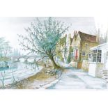 """Jeremy King (British b.1933) coloured lithograph, """"Strand on the Green"""", signed and numbered 108/250"""
