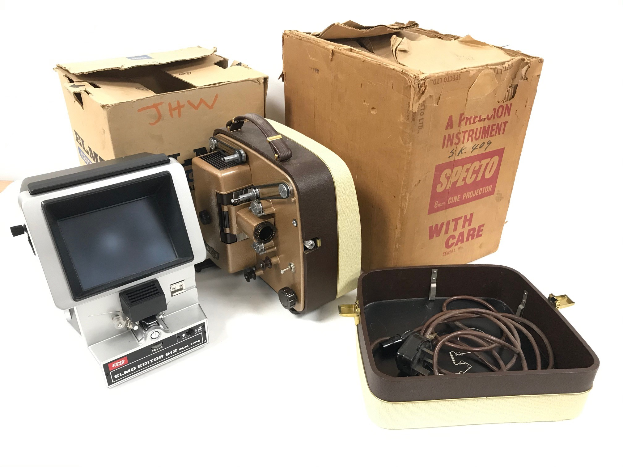A vintage Specto 8mm cine projector, together with an Elmo Editor 912 Dual Type, both with boxes but