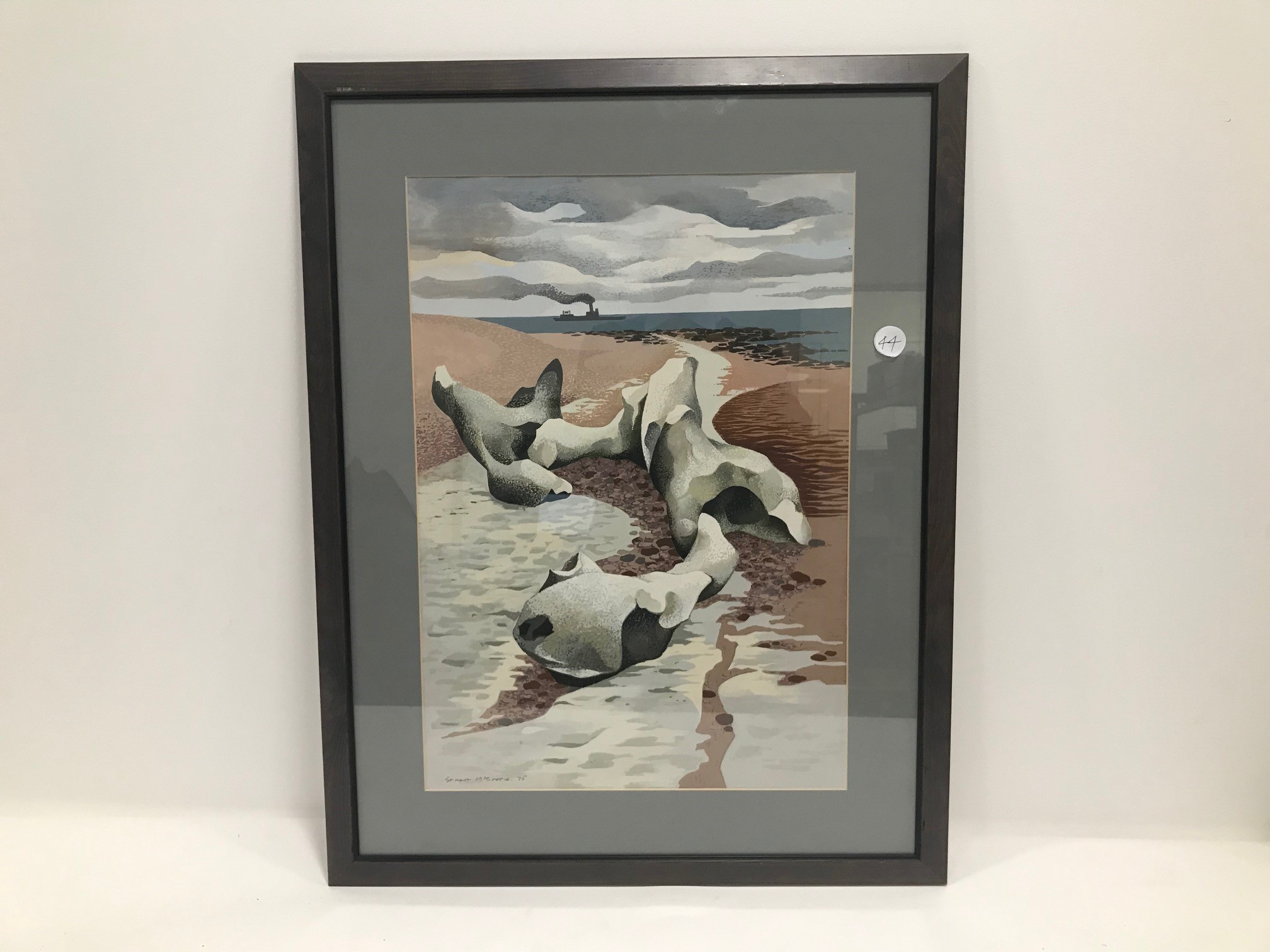A 20th Century Stuart McCrorie gouache on paper, depicting a beach with the tide out and a boat in
