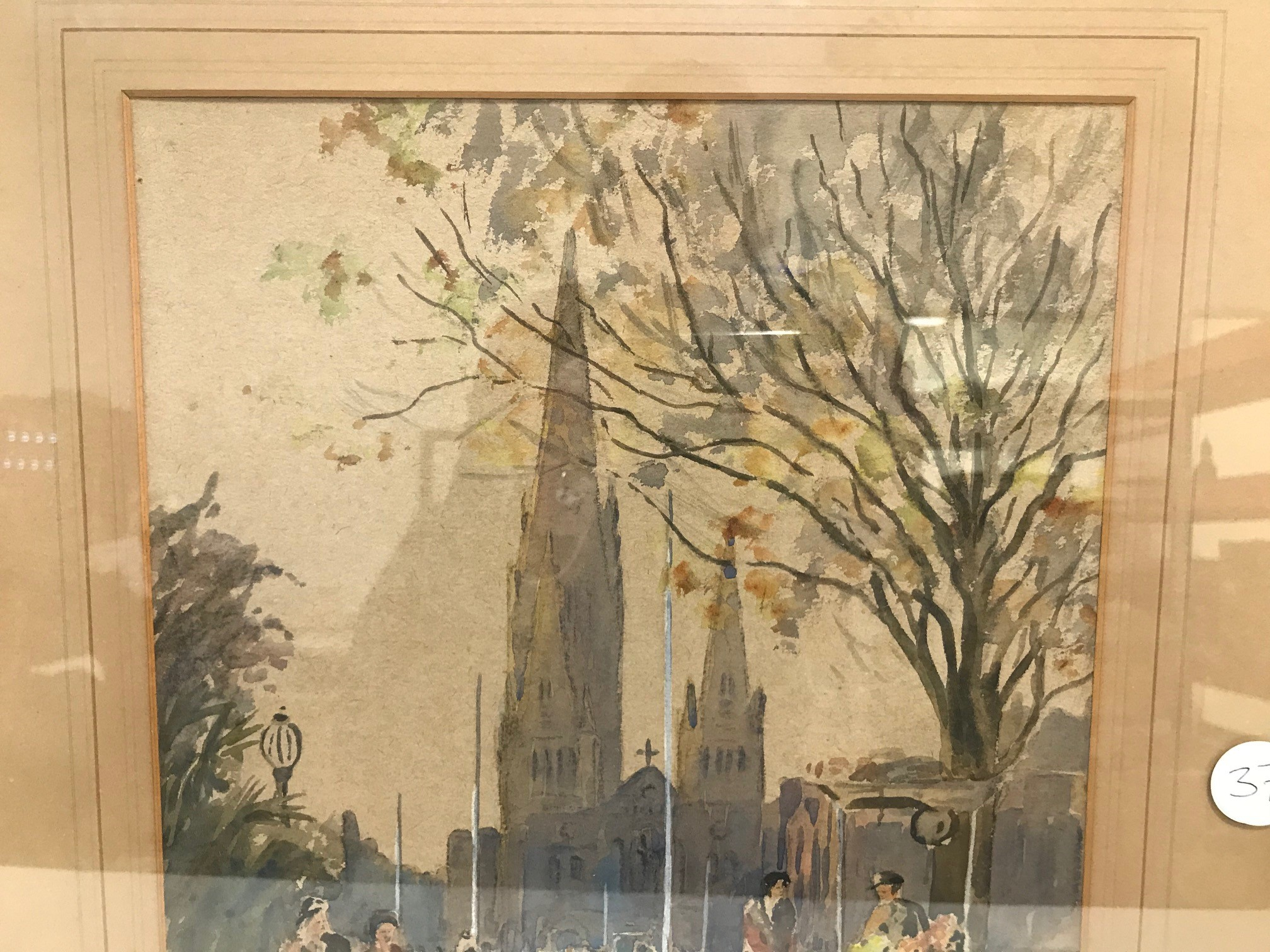 """E.W. Witty 1930s watercolour, """"Cathedral Melbourne"""", signed and dated 1933, 37cm x 27cm, framed - Image 2 of 3"""