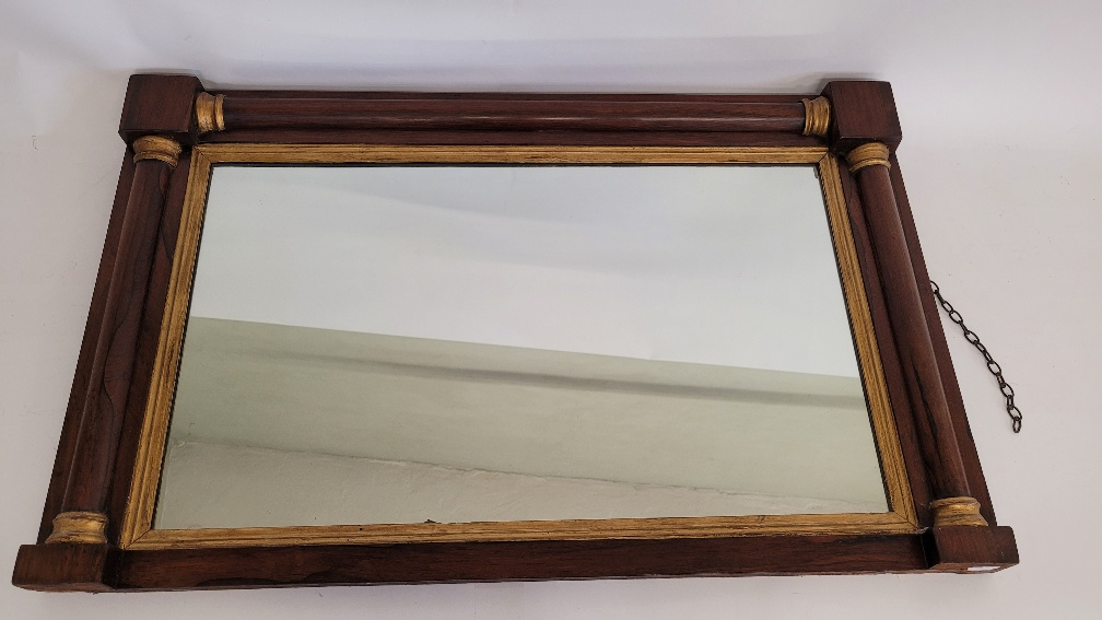 A Regency style 19th century rosewood and gilt over mantel mirror, 59cm x 94cm
