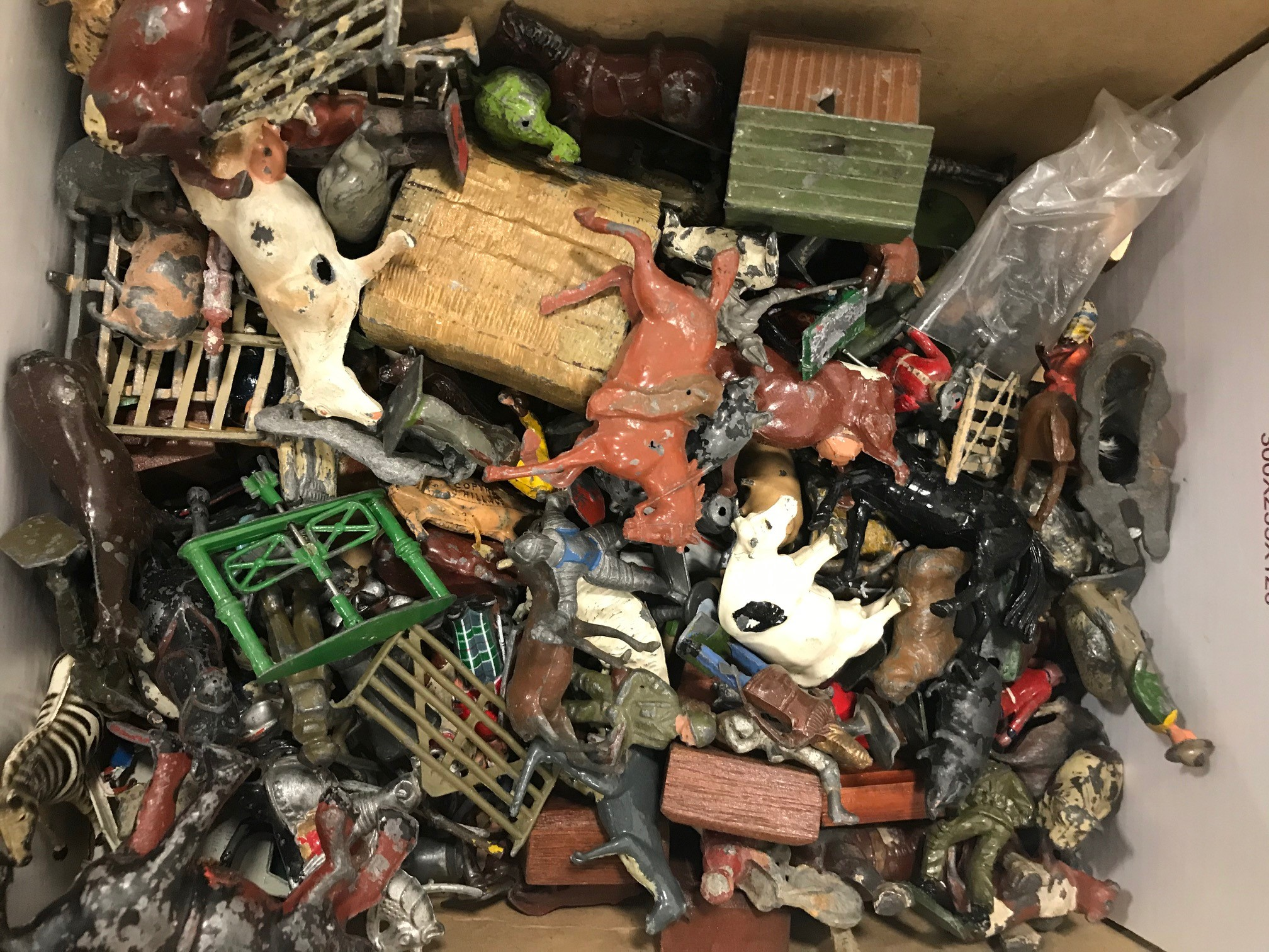 A collection of Britains and other lead and metal figures and other items, with animals, civilian - Image 2 of 2