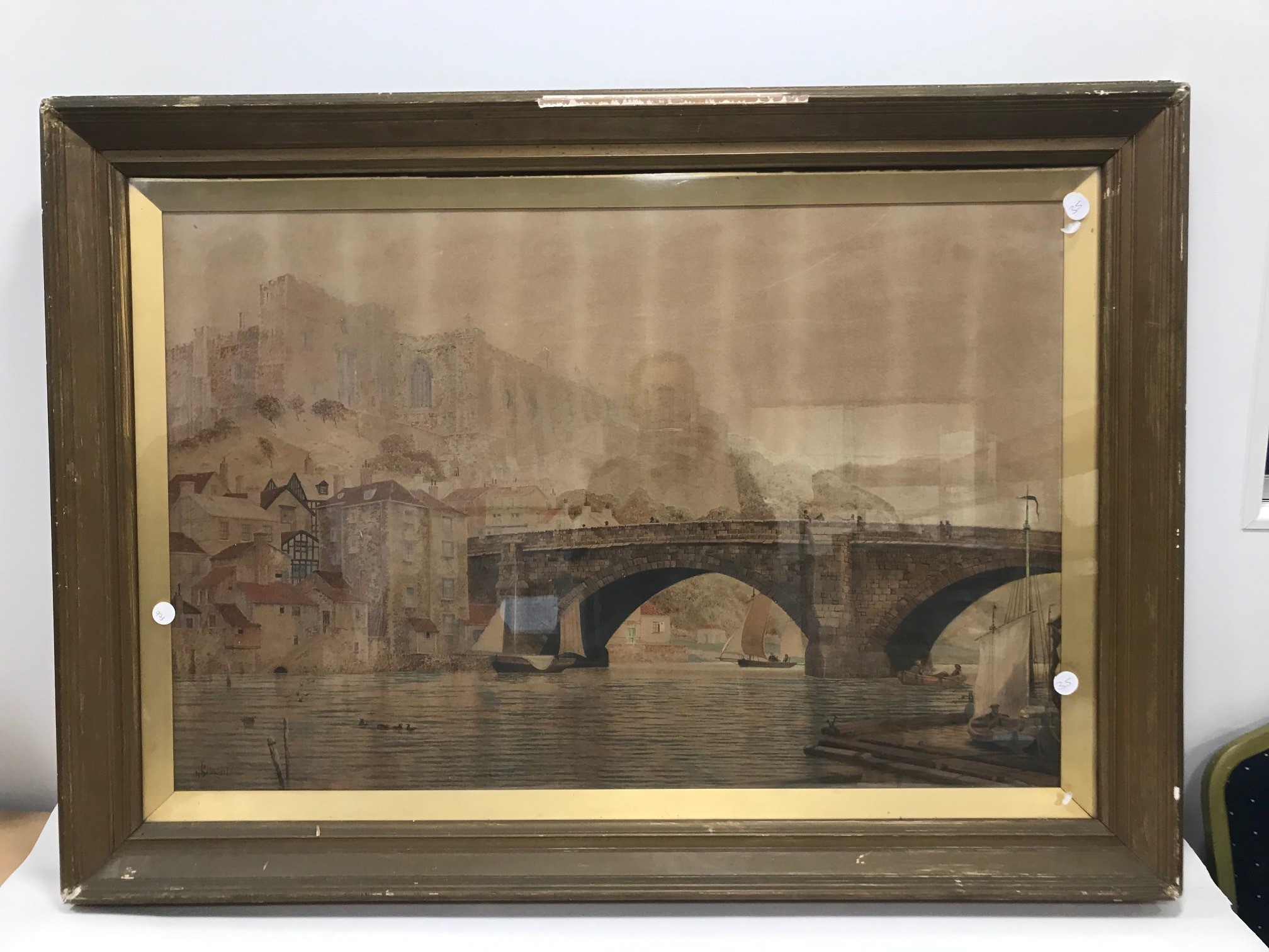 James Lawson Stewart (1841-1929) large British school watercolour on paper, riverside scene with - Image 2 of 2