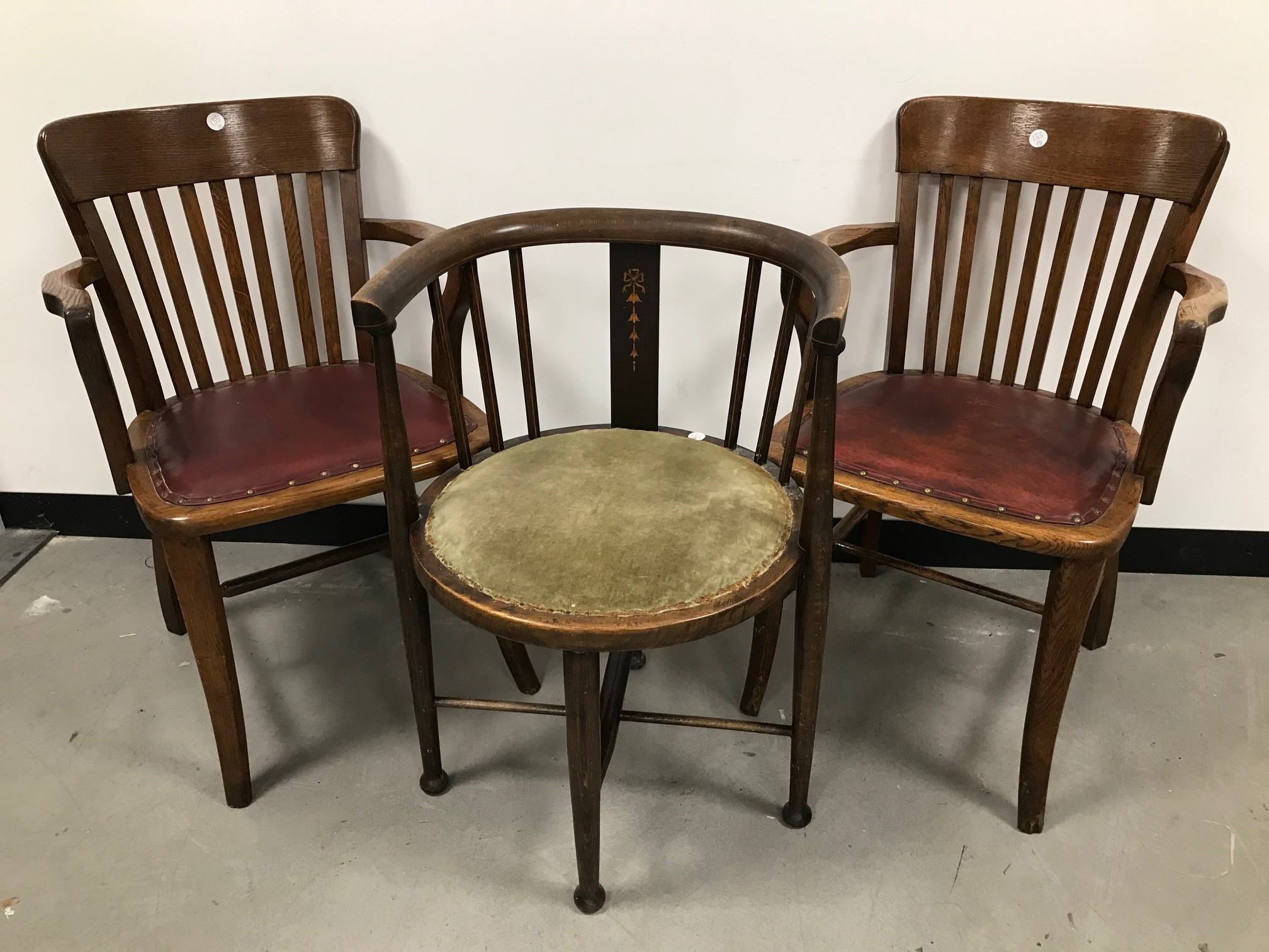 A pair of Art Deco period chairs with red vinyl seats, together with an Edwardian period corner