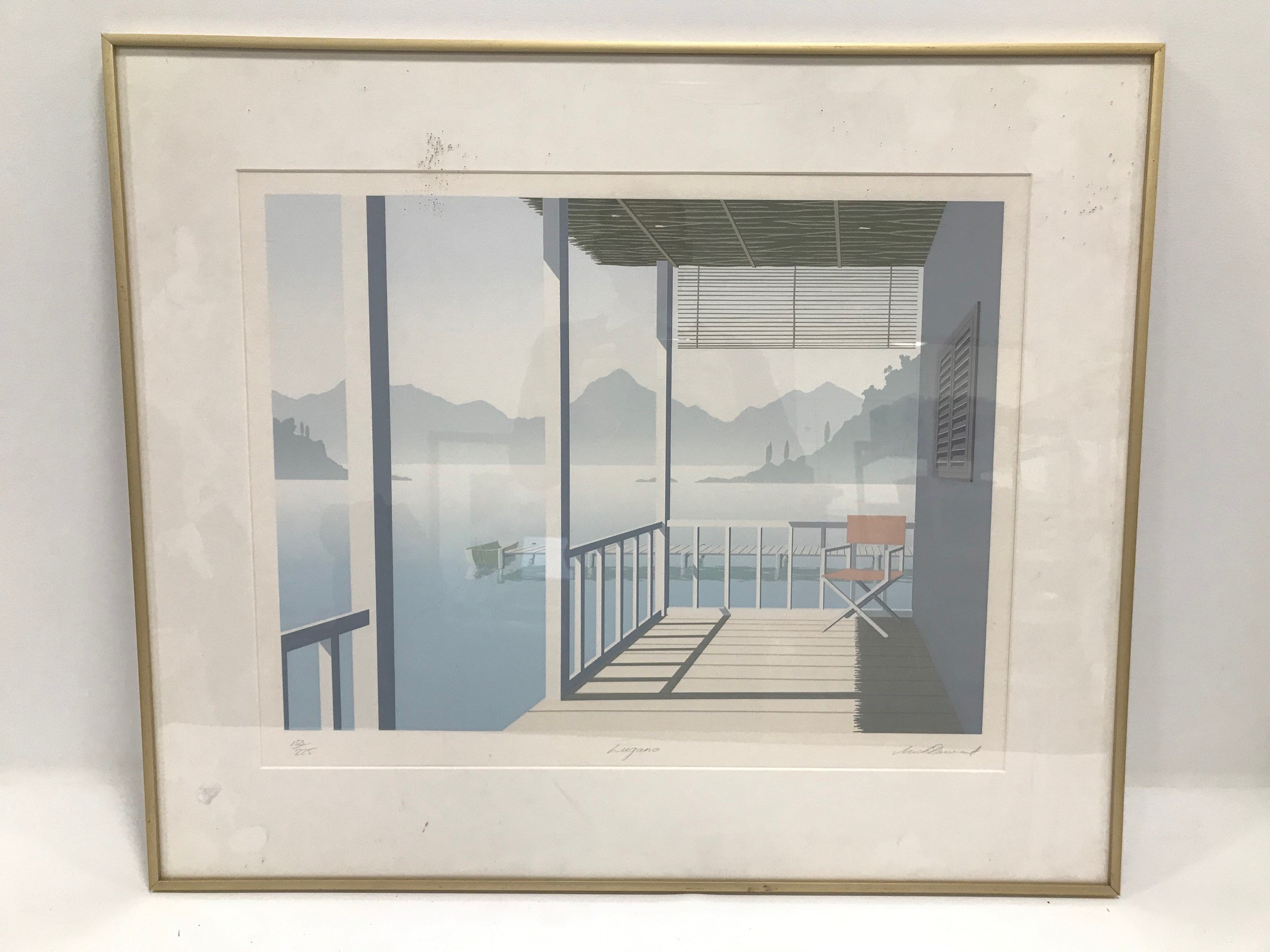 """Continental school 20th Century, limited edition print titled """"Lugano"""", signed, 57cm x 40cm,"""