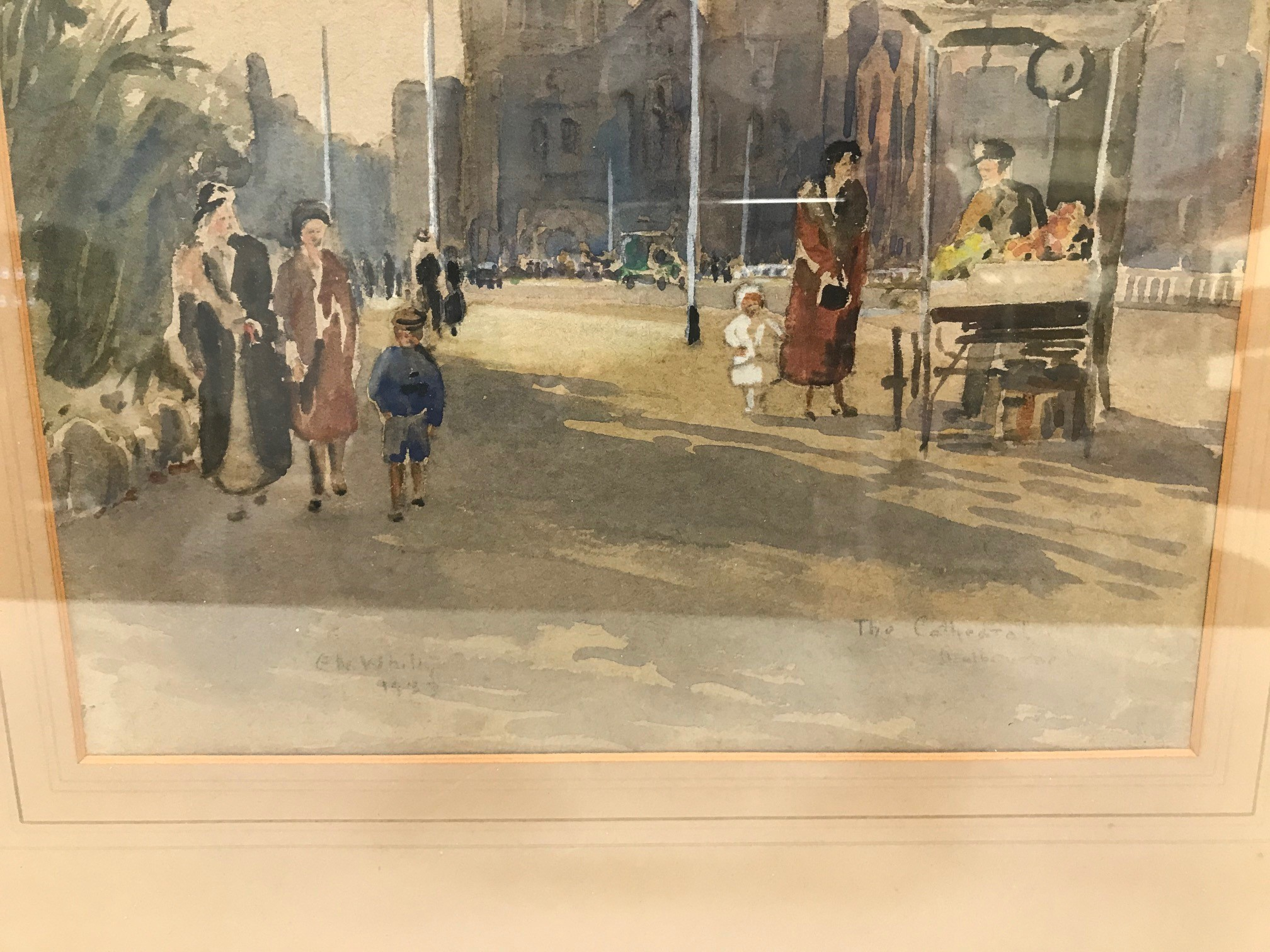 """E.W. Witty 1930s watercolour, """"Cathedral Melbourne"""", signed and dated 1933, 37cm x 27cm, framed - Image 3 of 3"""