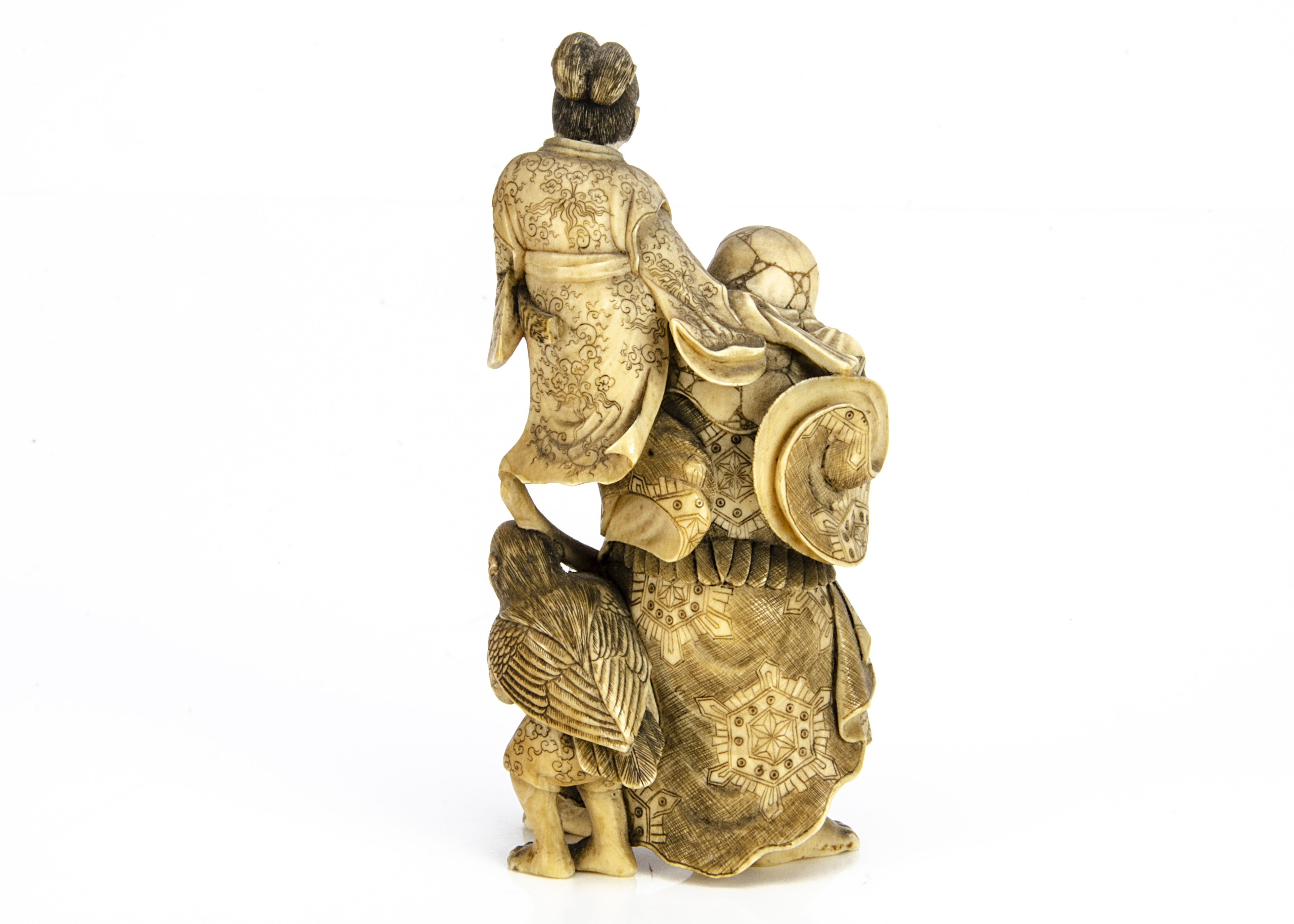 A Meiji period carved ivory okimono, of Minamoto Yorimasa watching as the samurai warrior Ino Hayata - Image 2 of 2