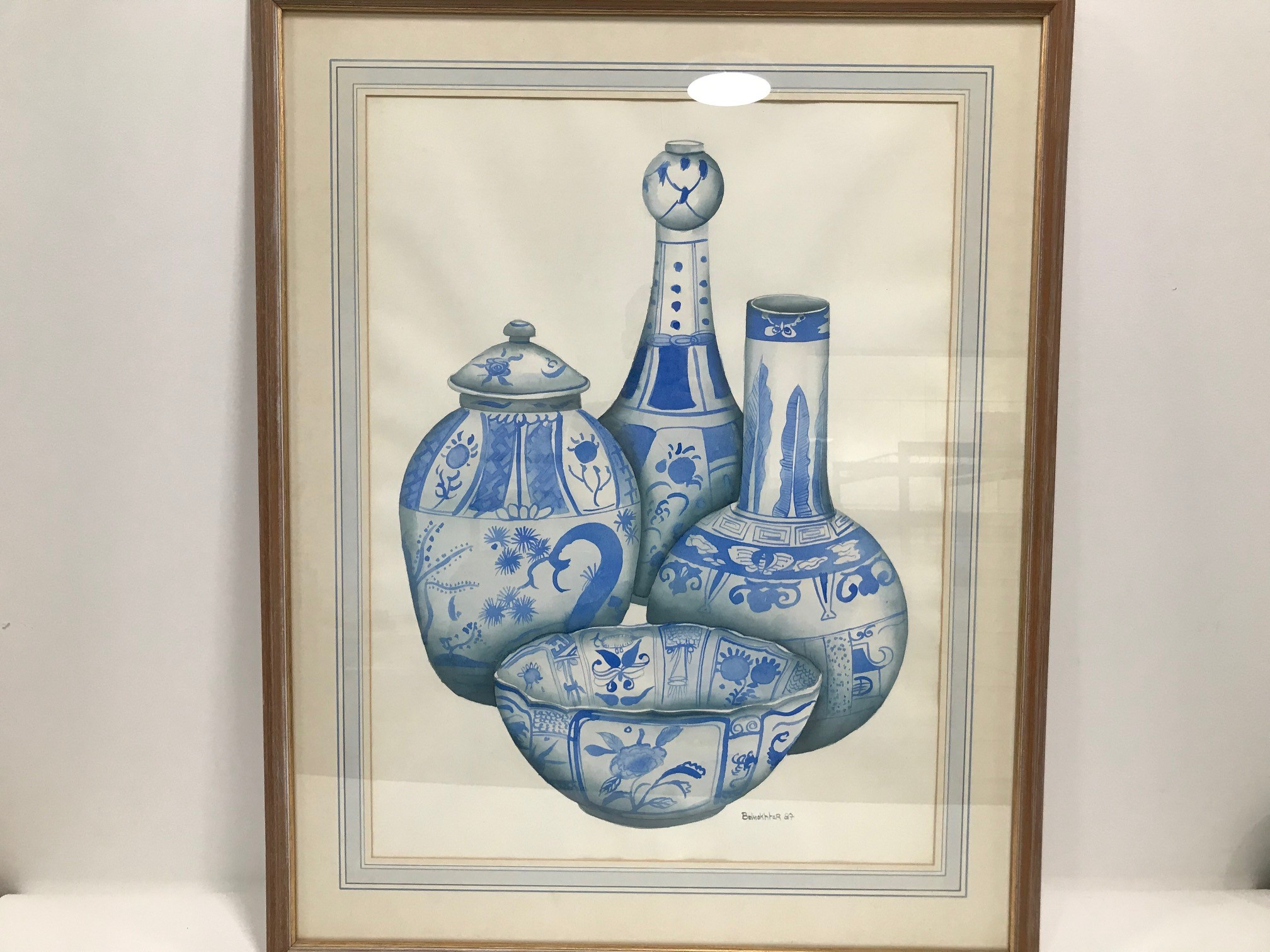 Mandy Belmokhtar 20th century gouache on paper painting, 73cm by 55cm, blue and white Chinese