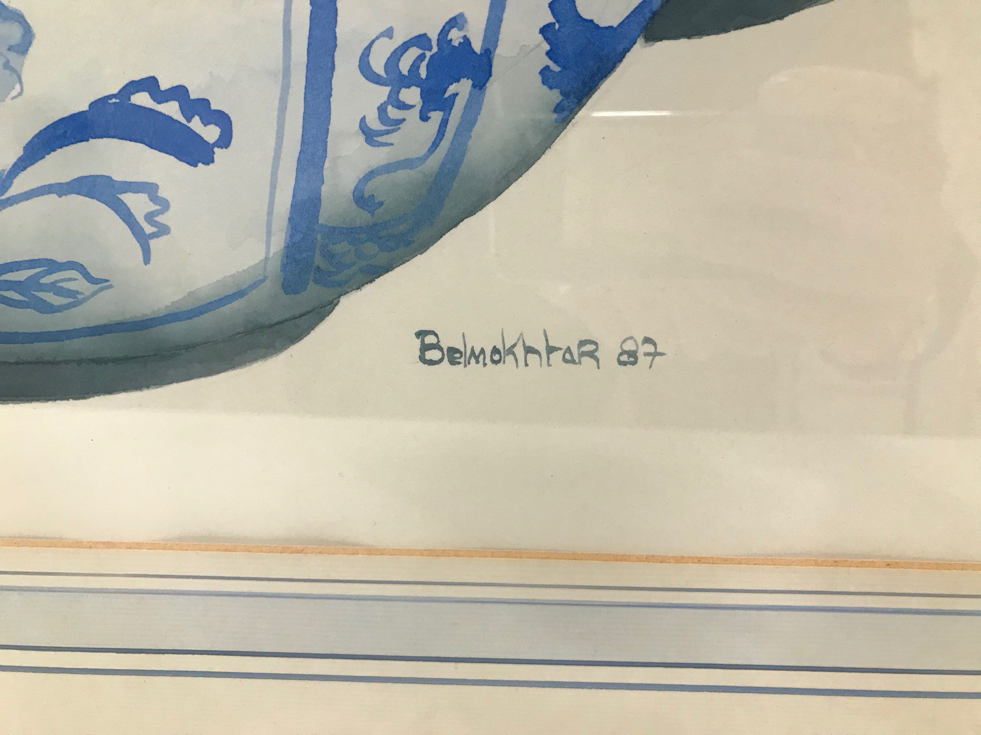 Mandy Belmokhtar 20th century gouache on paper painting, 73cm by 55cm, blue and white Chinese - Image 2 of 2