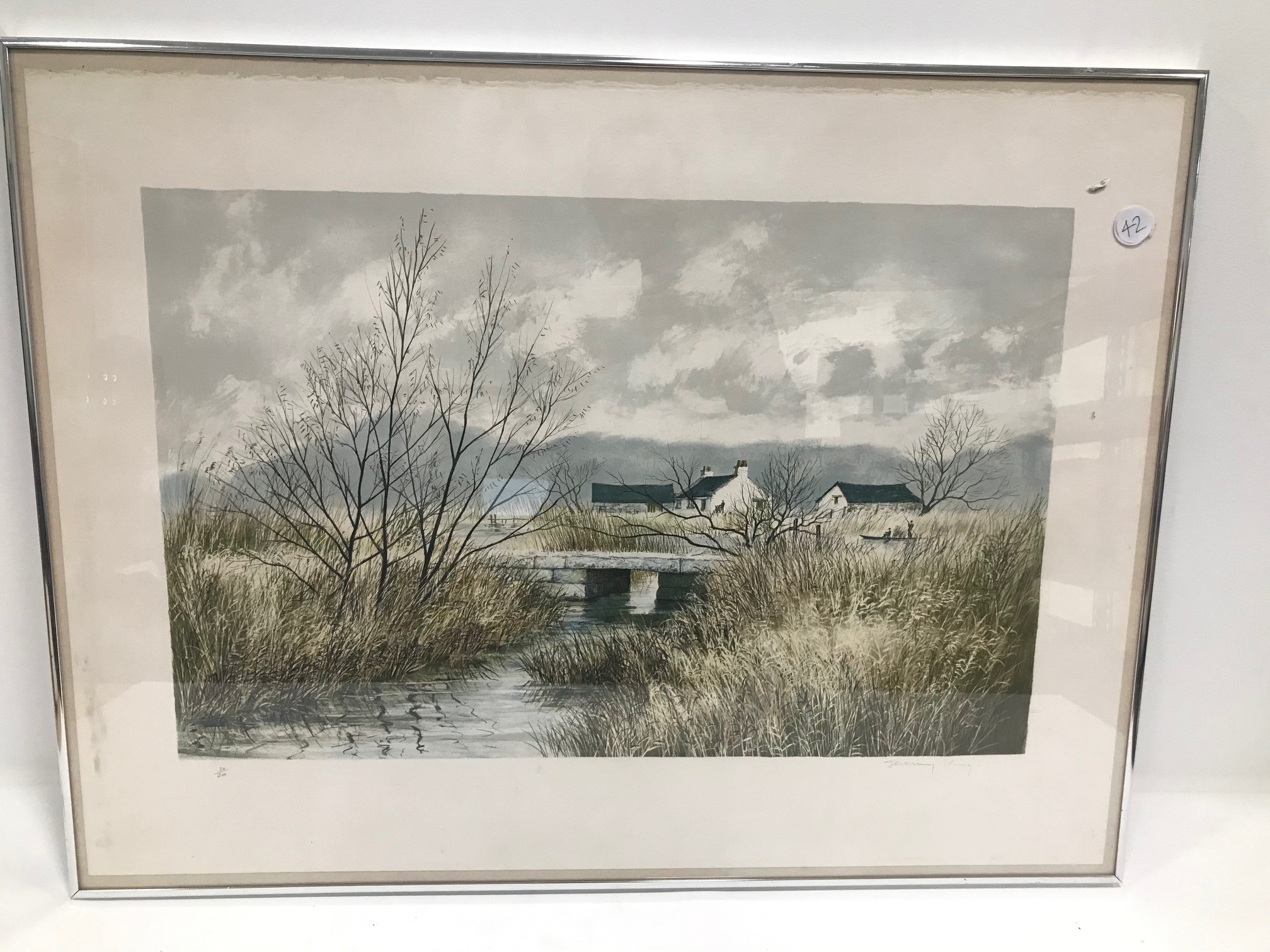 Jeremy King (British b.1933) coloured lithograph, signed and numbered, 40cm by 63cm, framed and