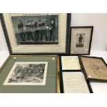 Five framed military interest prints and a letter, the letter from Lord John Arbuthnot Fisher, and a