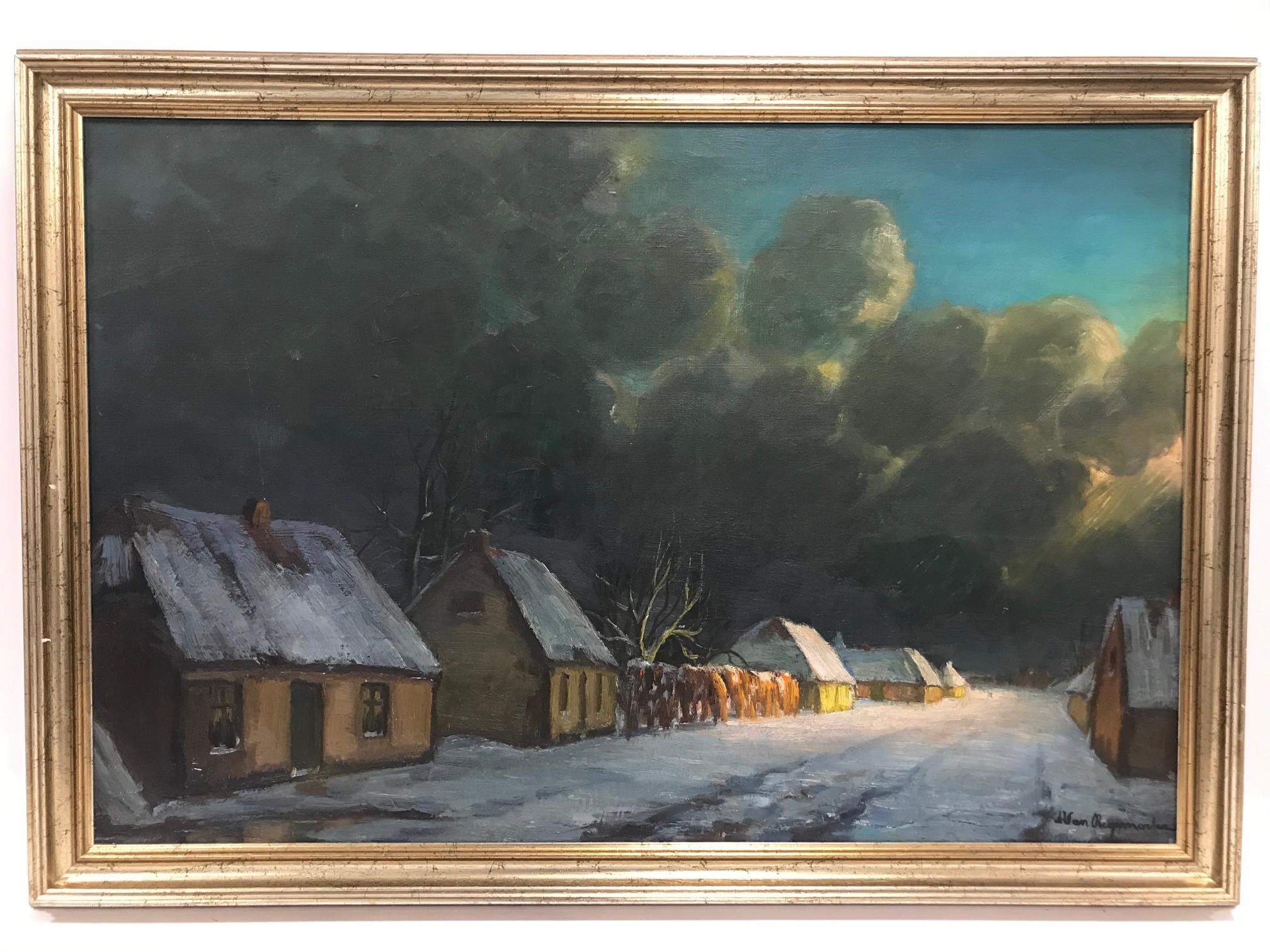 Scandanavian school 20th century, large oil on canvas, Snowy Hamlet Scene, signed lower right,