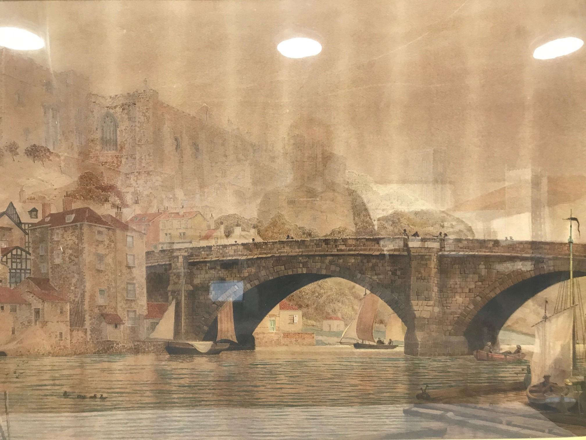James Lawson Stewart (1841-1929) large British school watercolour on paper, riverside scene with