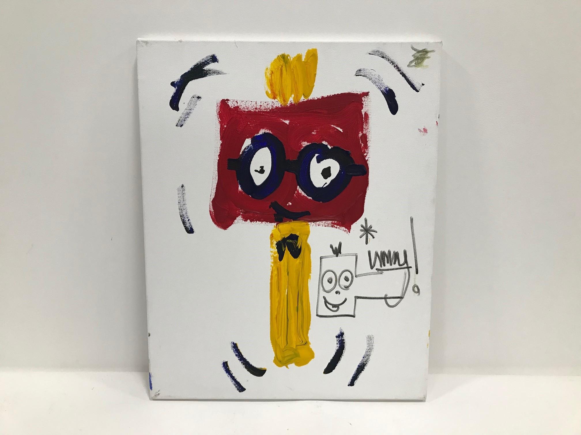 """Timmy Mallett 20th century acrylic on canvas, """"Celebritity Graffitti"""", a painting of Mallett's"""