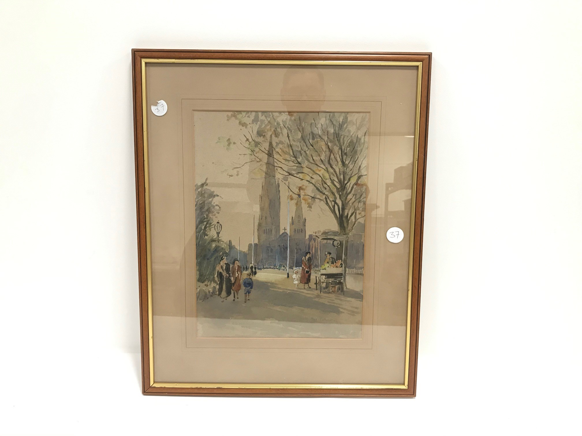 """E.W. Witty 1930s watercolour, """"Cathedral Melbourne"""", signed and dated 1933, 37cm x 27cm, framed"""