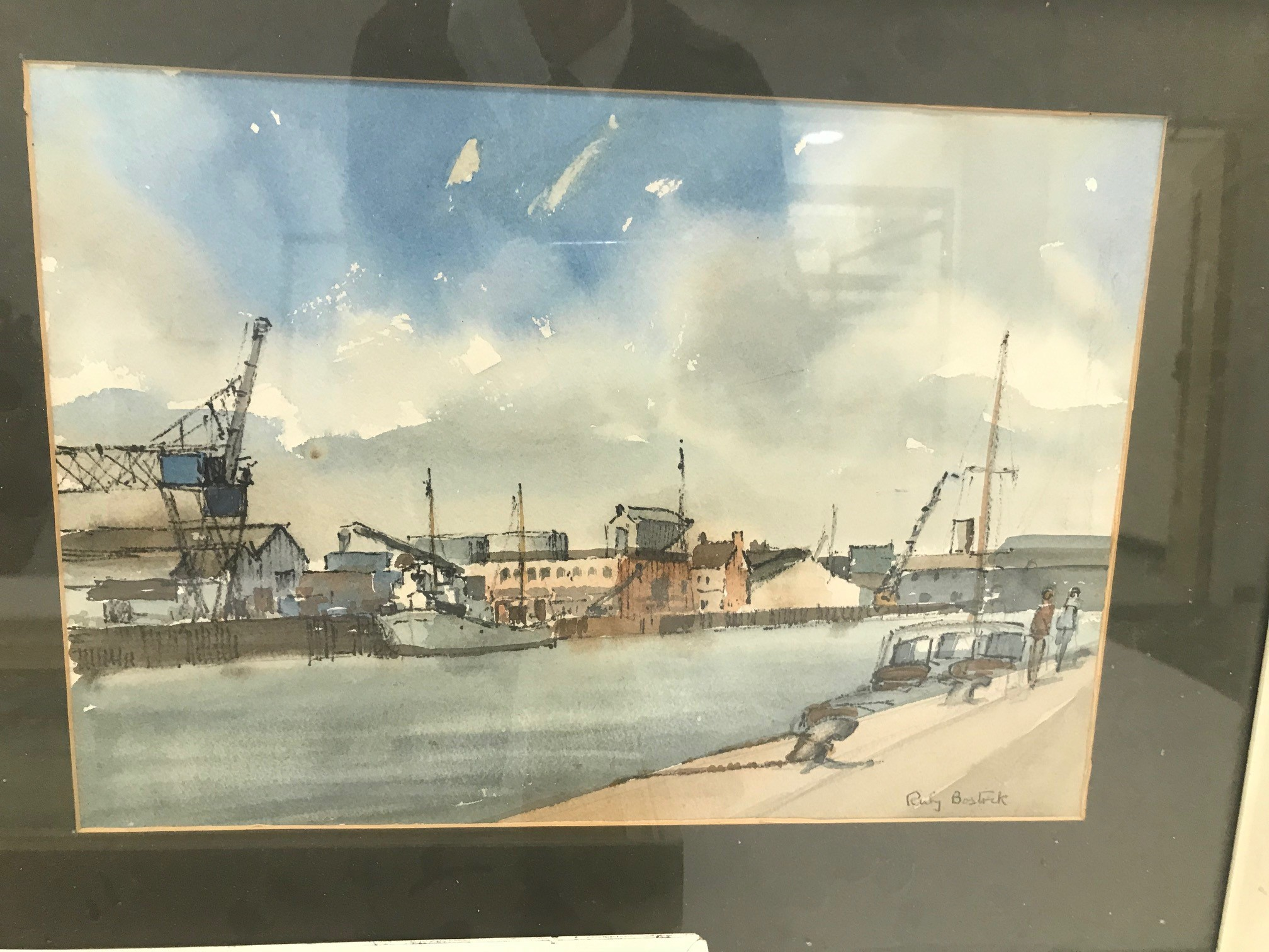 """Three 20th century paintings of nautical and boating interest, including """"Poole Harbour"""" by Ruby - Image 3 of 4"""