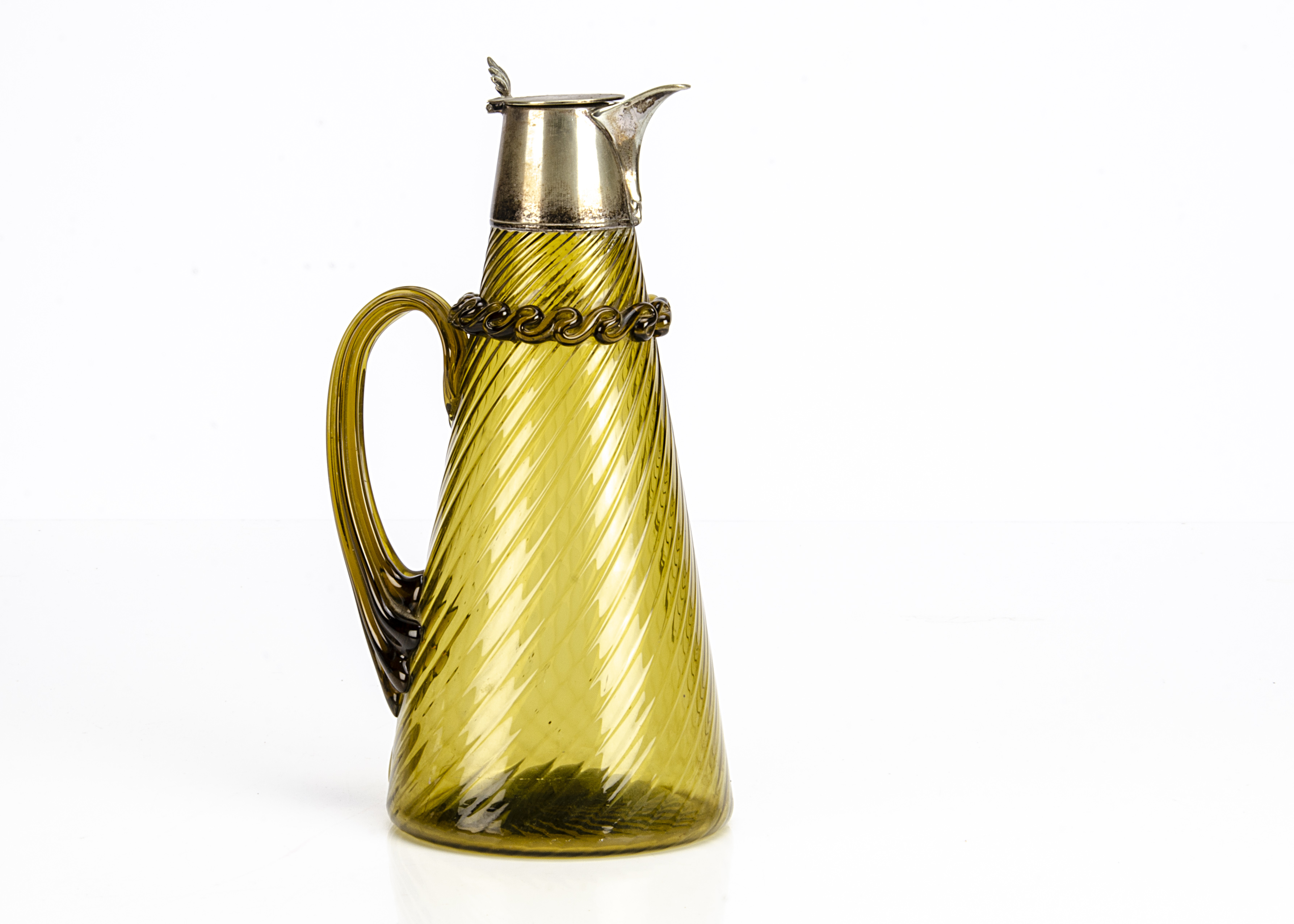 A nice early 20th century glass claret jug, tapered body with applied handle and trail work to neck,