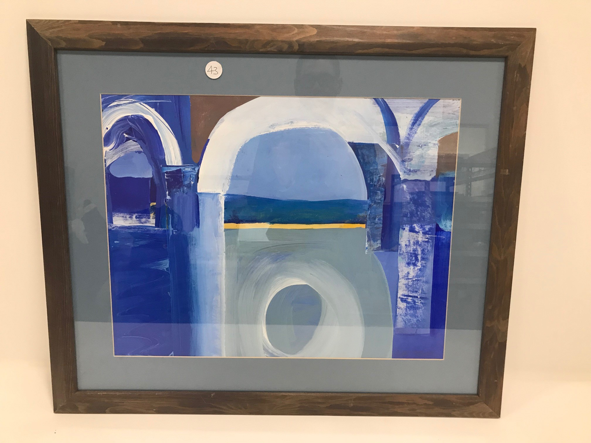 Jack Hellewell (1920-2000) gouache on paper, depicting a view of the ocean through architectural