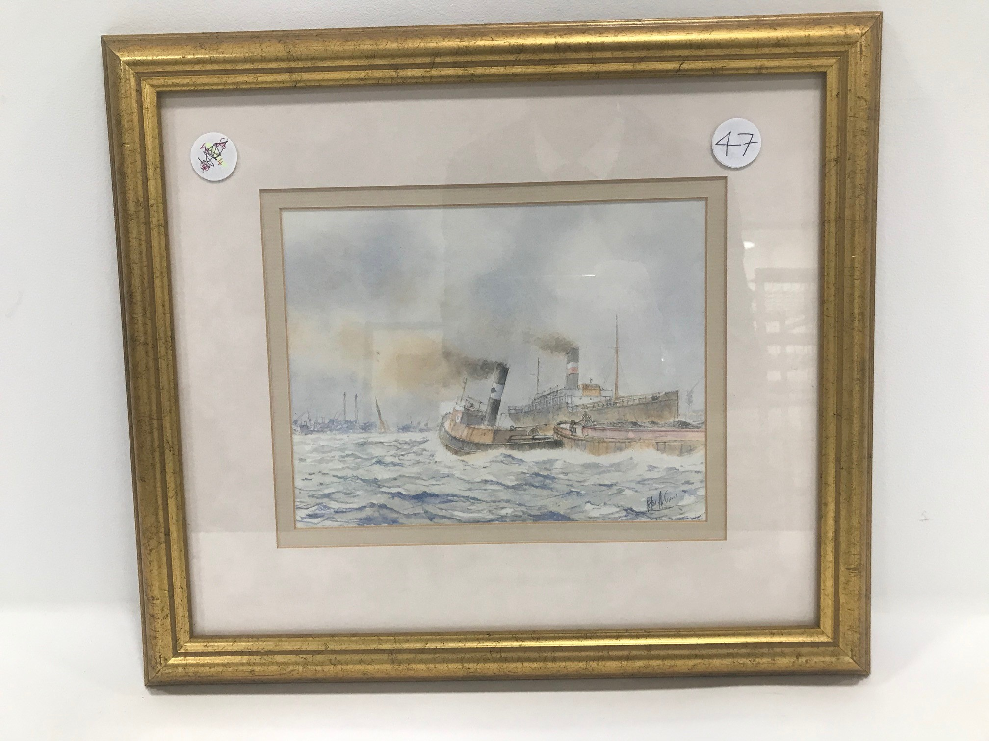 "Captain Peter Adams 20th century watercolour, ""Steam On The Thames"", signed, 17cm by 22cm, label"