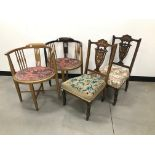 A pair of late Victorian inlaid nursing or bedroom chairs, together with another pair of corner