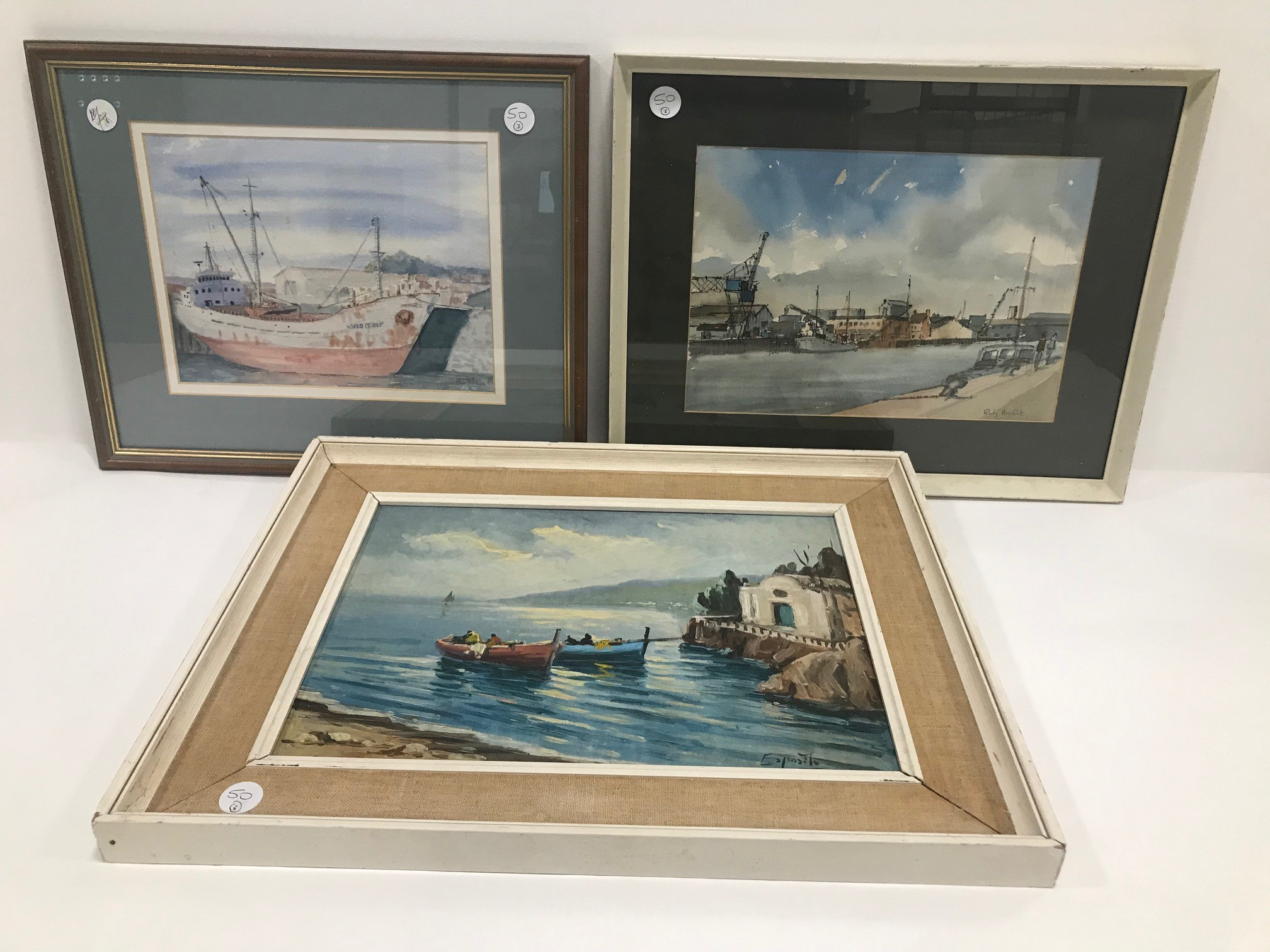 """Three 20th century paintings of nautical and boating interest, including """"Poole Harbour"""" by Ruby"""