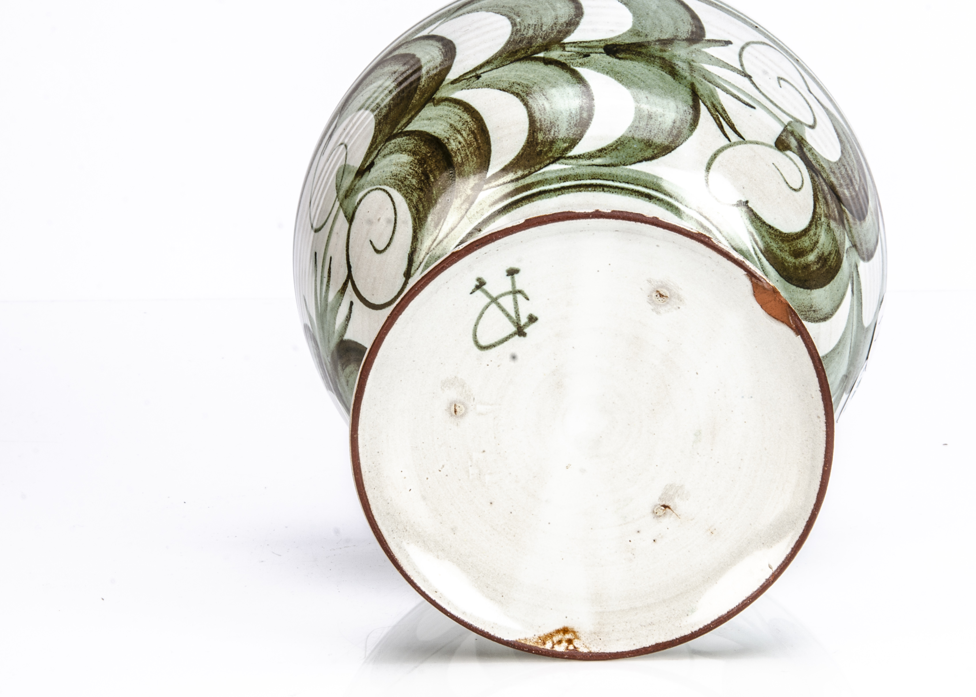 An Aldermaston Pottery footed bowl, with green decoration, signed VC to base, 19.5cm diameter and - Image 2 of 2