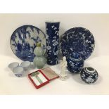 A group of oriental ceramics and objects, including two Japanese porcelain chargers, two Chinese