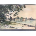 "Michel Le Bourlier 20th century watercolour, river scene, titled ""Dell Quay"", 30cm by 45cm, framed"