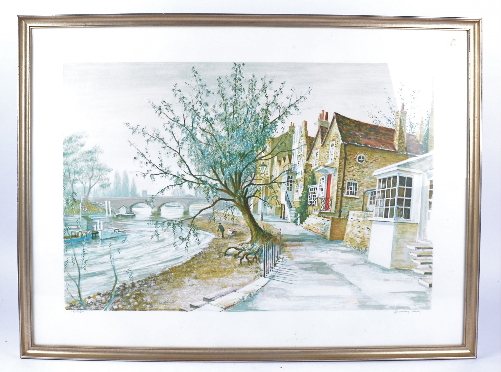 """Jeremy King (British b.1933) coloured lithograph, """"Strand on the Green"""", signed and numbered 108/250 - Image 2 of 4"""