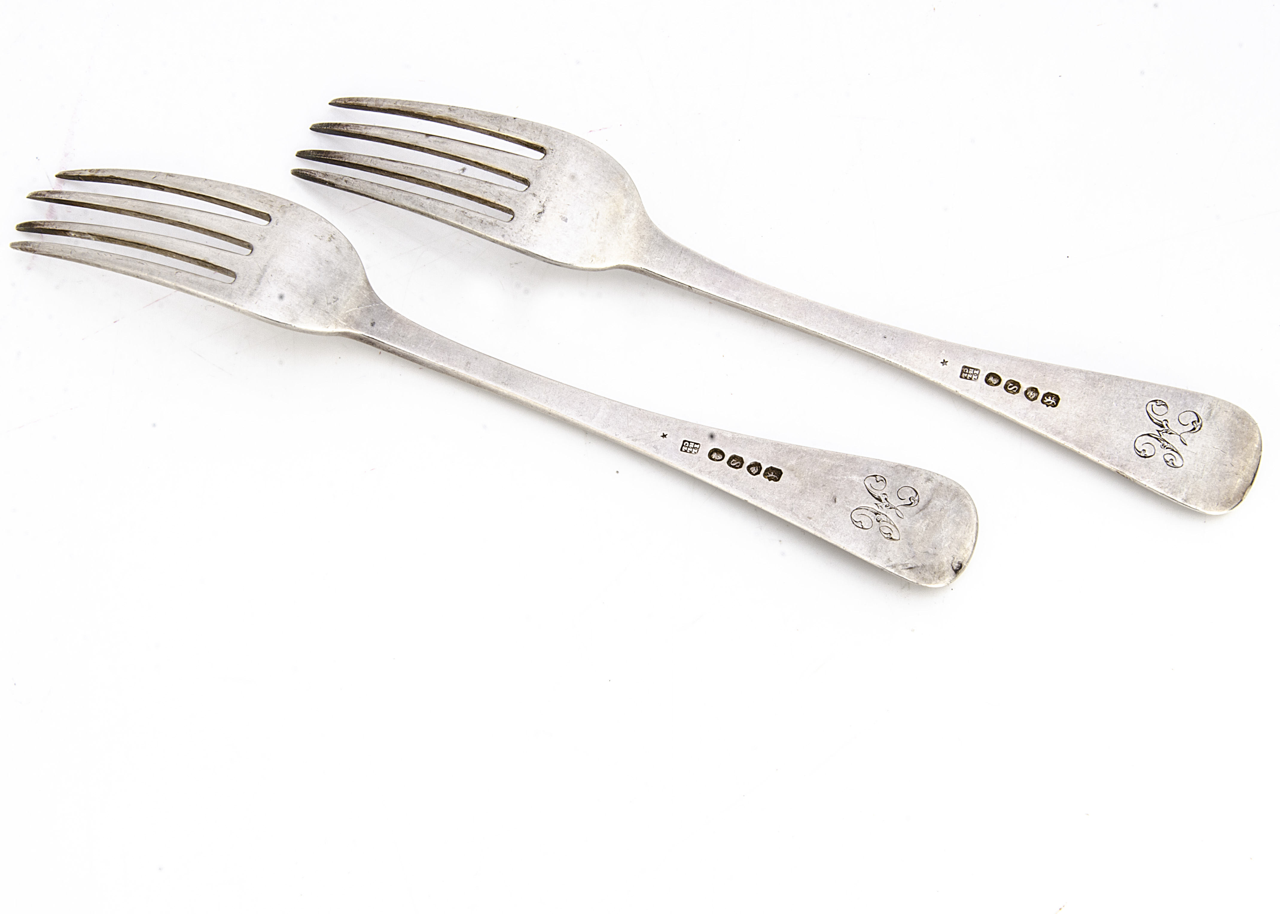 A pair of William IV silver forks by John & Henry & Charles Lias, old English pattern with engrved H - Image 2 of 2